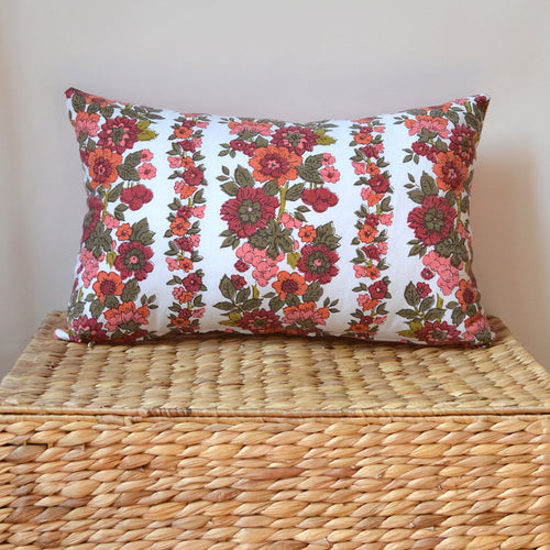 Mexican floral PILLOW COVER hand-made from vintage repurposed fabric