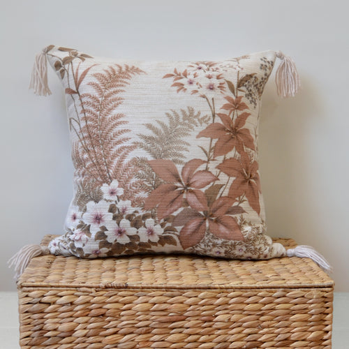 Tropical ferns and flowers PILLOW COVER with tassels made from West German repurposed fabric