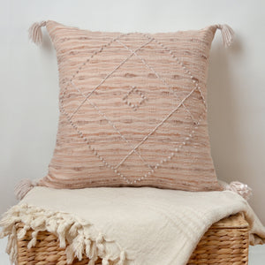 Blush woven PILLOW COVER with tassels hand-made from vintage repurposed fabric
