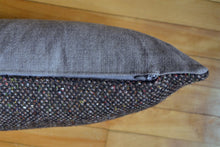 Black tweed lumbar PILLOW COVER made from repurposed fabric