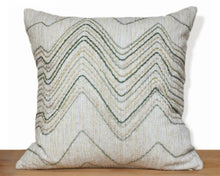 Green wool zig-zag PILLOW COVER made from vintage repurposed fabric