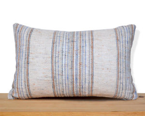 Blue striped woven PILLOW COVER hand-made from vintage repurposed fabric