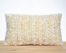 "Faux ""Mohair"" lumbar PILLOW COVER hand-made from vintage repurposed fabric"