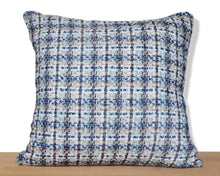 Blue tweed PILLOW COVER hand-made from vintage repurposed fabric