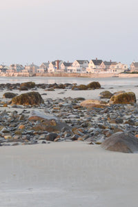 Pink sunrise beach houses in Maine print