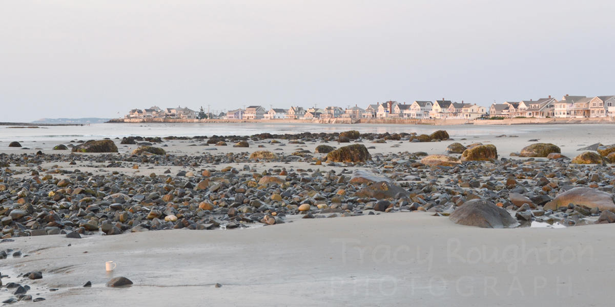 12x24 -Panoramic - Pink sunrise beach houses in Maine print