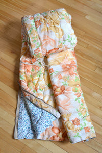 Floral sleeping bag for vintage camping