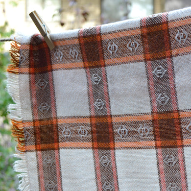 Folk boho style woven orange & brown vintage tablecloth