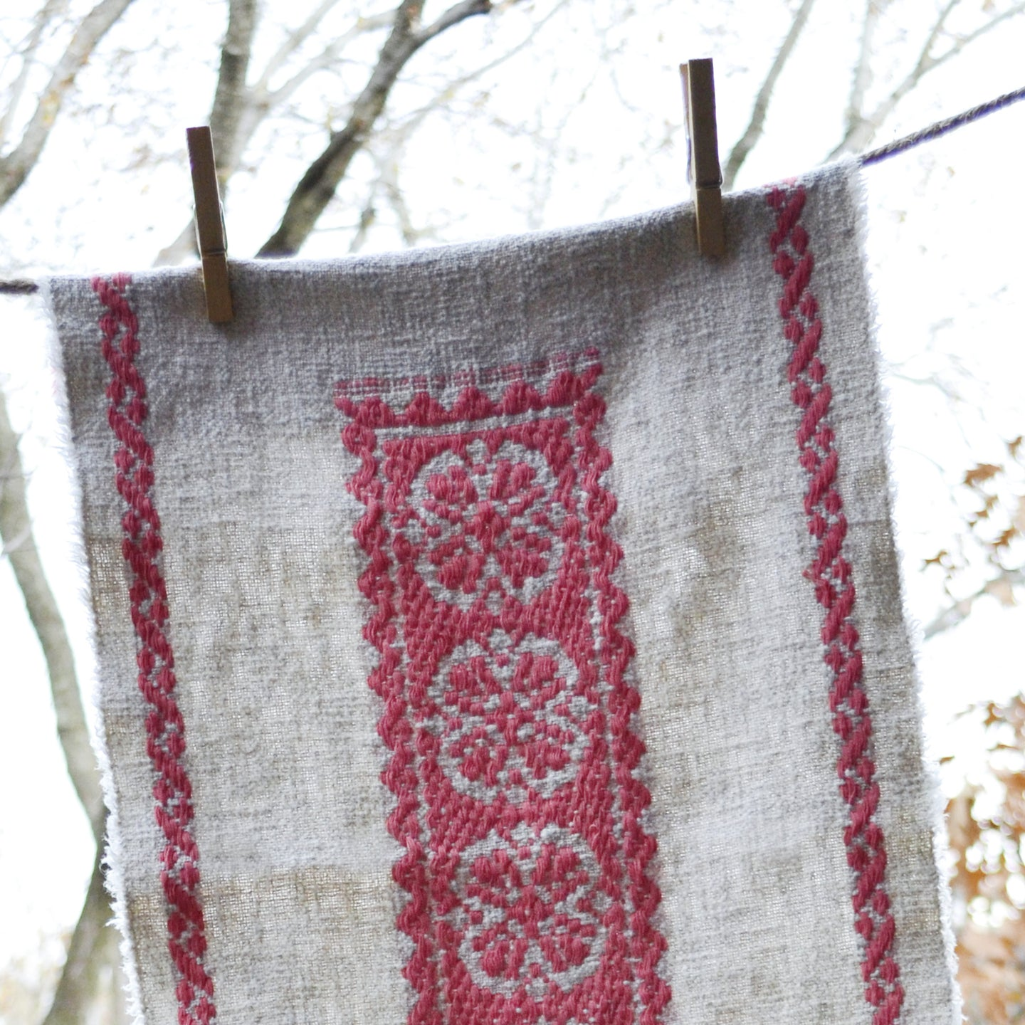 Vintage table runner - pink woven pattern on raw linen