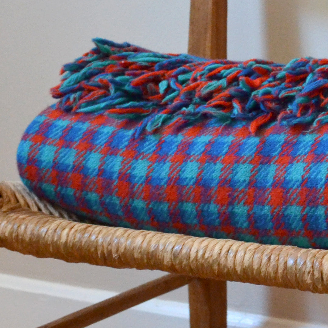Red and blue plaid vintage wool blanket made in Greenland