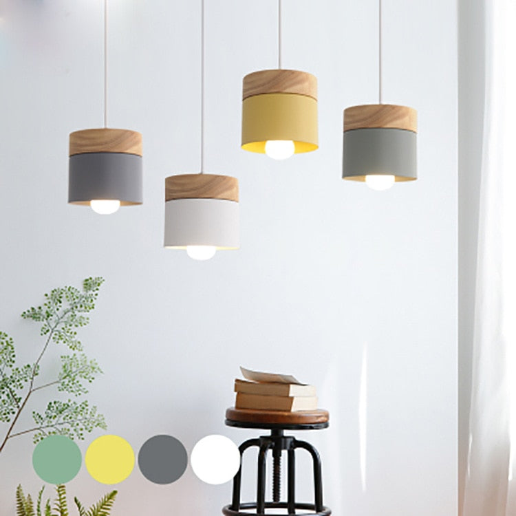 Nordic Wood Iron Cylinder Hanging Lamp