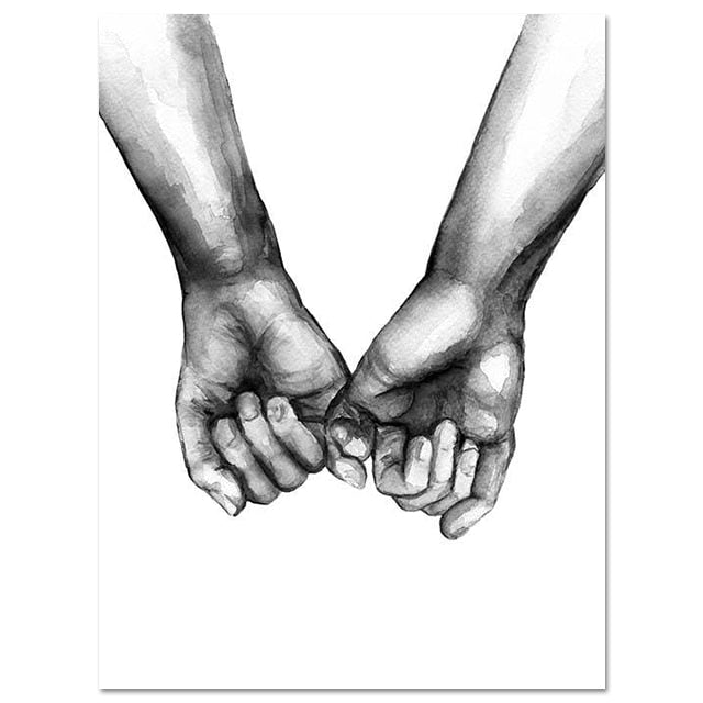 Black And White Holding Hands Love Canvas Prints