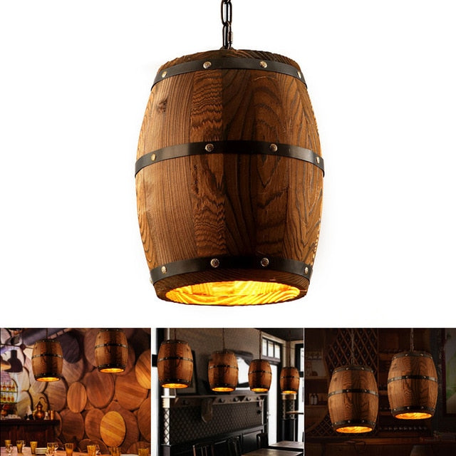 Wood Wine Barrel Hanging Fixture Pendant Light