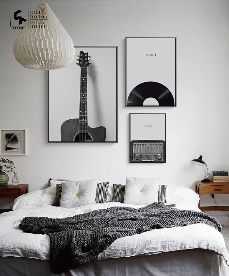 Vintage Guitar Music Print on Canvas