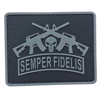 Semper Fidelis with Punisher and Rifles - Black and Gray - PVC Patch - Large