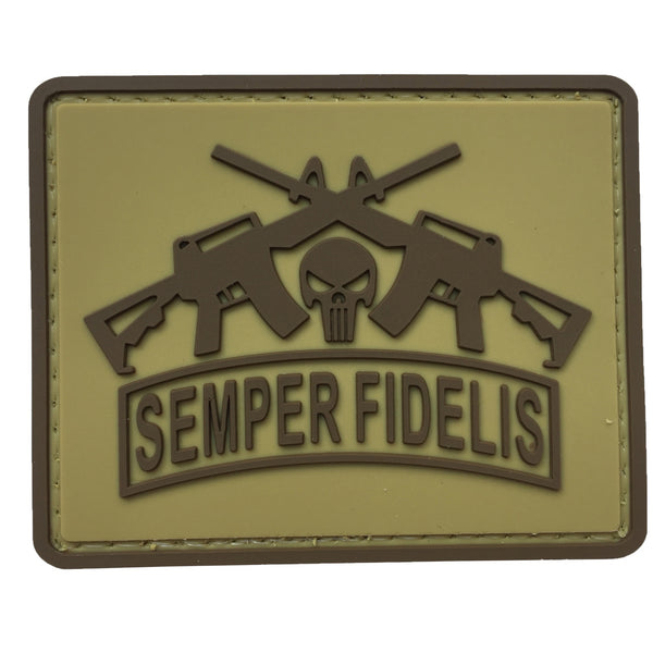 Semper Fidelis with Punisher and Rifles - Coyote Tan - PVC Patch - Large