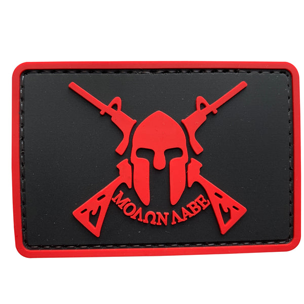 Molon Labe Spartan with Two Rifles - Red - PVC Patch - Large