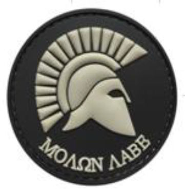 Round Molon Labe - Black and Gray - PVC Patch - Large