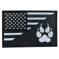 US Flag With K9 Dog Paw - SWAT - PVC Patch - Large