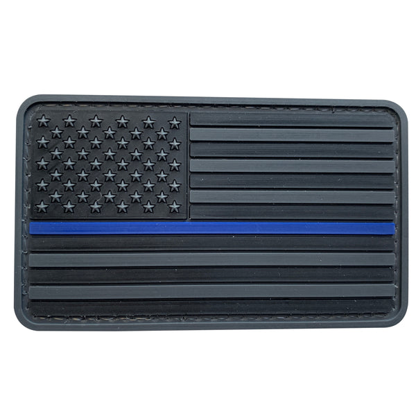 Thin Blue Line Flag - Dark Gray - PVC Patch - Large