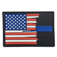 Tattered Thin Blue Line / US Flag - PVC Patch - Large