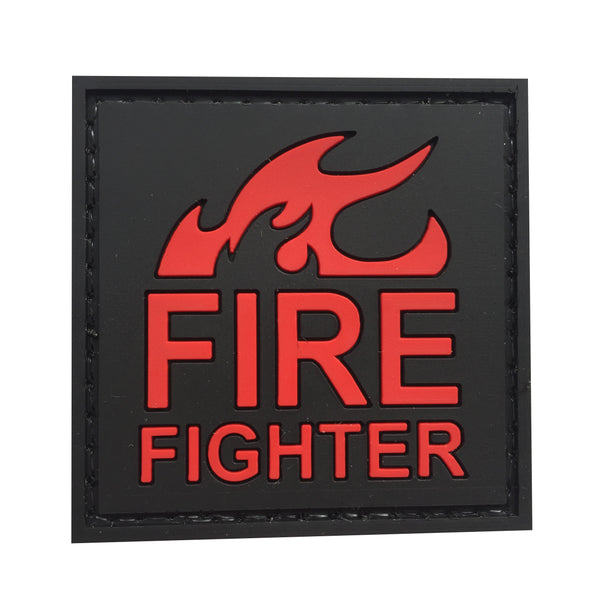 Fire Fighter - Black and Red - PVC Patch - Large