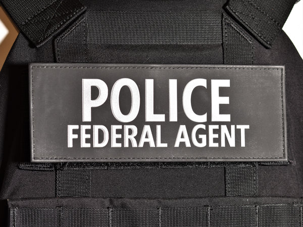 "Reflective Plate Carrier Patch (3""x8"") - POLICE FEDERAL AGENT"