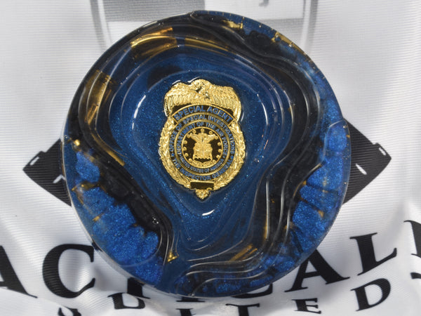 CLEARANCE - OSI Badge Blue & Black Ashtray With Bullet Shells