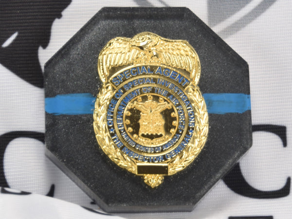 CLEARANCE - OSI Badge Thin Blue Line Hex Paperweight