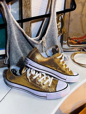 upcycled gold metallic shimmery converse