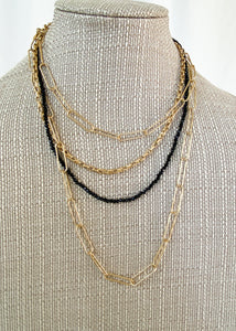 Chain and Crystal Bead Necklace