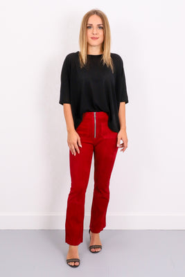Patch Pocket Crop Flare - Blood Red