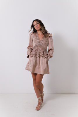 Beige Viscose Jacquard Mini Dress