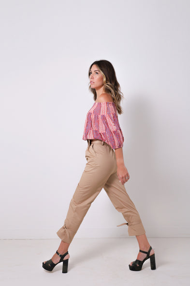 Beige Canvas Peg Trouser