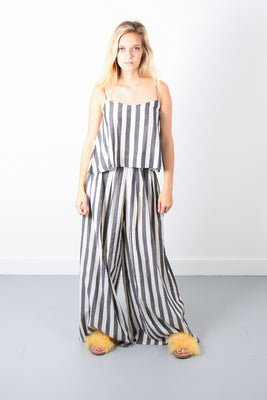 Annex Wide Leg Pant-Grey/Ivory Stripe