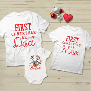 Mommy Daddy and Baby Kids 1st Christmas Family Matching Clothes Outfit