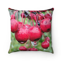 Red Berries, Green Pods Faux Suede Square Pillow