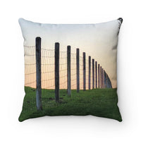 Fence and Bridge Faux Suede Square Pillow - offbeatpillows
