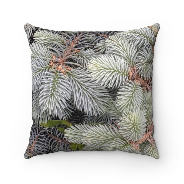 Evergreen Shrub Photo Faux Suede Square Pillow