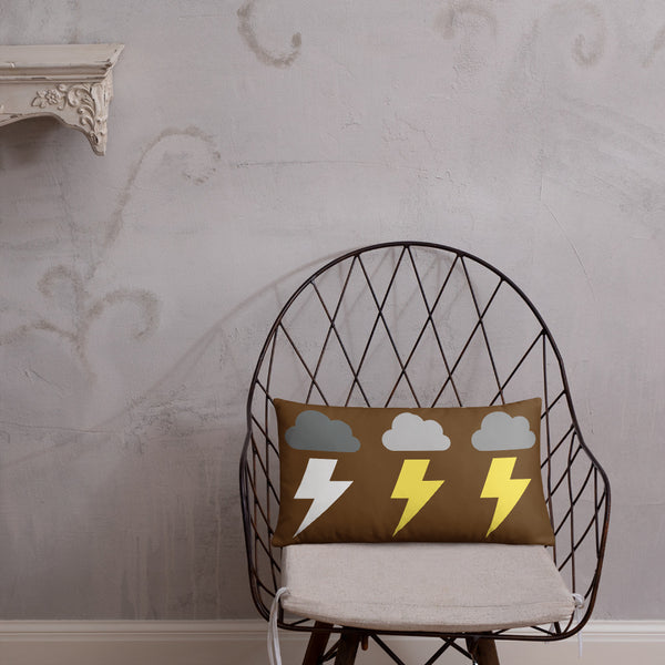 Lightning Clouds and Sun Flower Lumbar Pillow