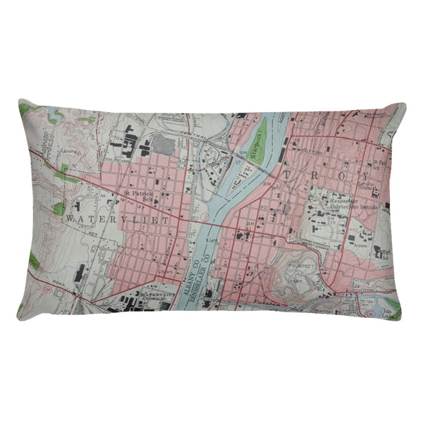 Vintage Map Troy, NY & Philipstown, NY Pillow
