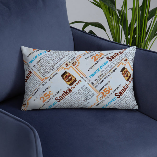 Vintage Freeze Dried Sanka Coffee Lumbar Pillow