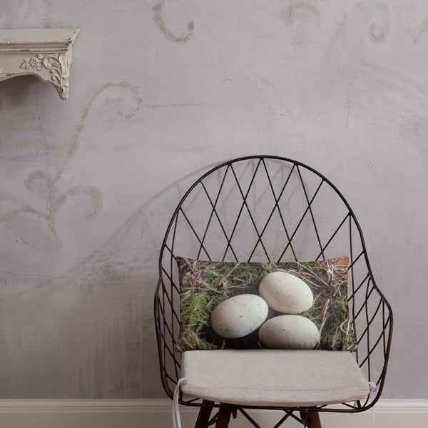 Bird Nest & Eggs Lumbar Pillow