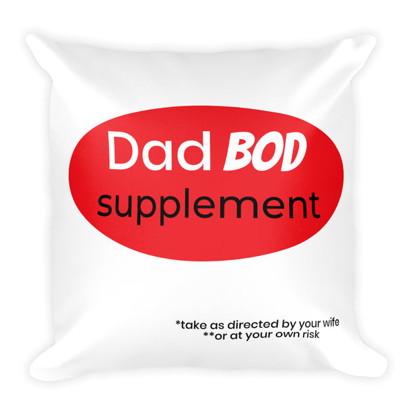 Dad bod Supplement on White Pillow