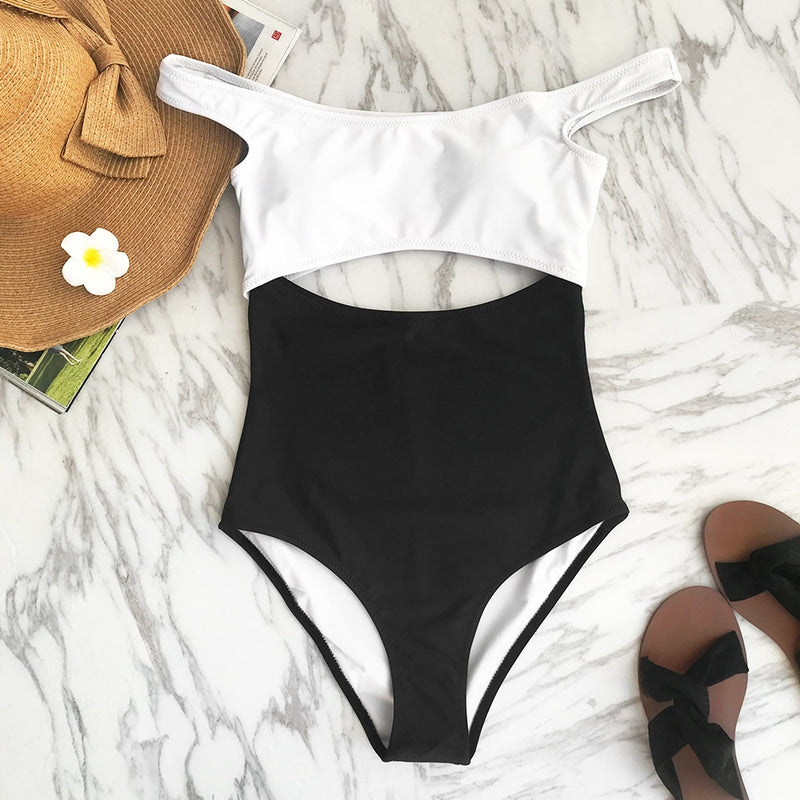 Black and White  Dropped Shoulder One Piece