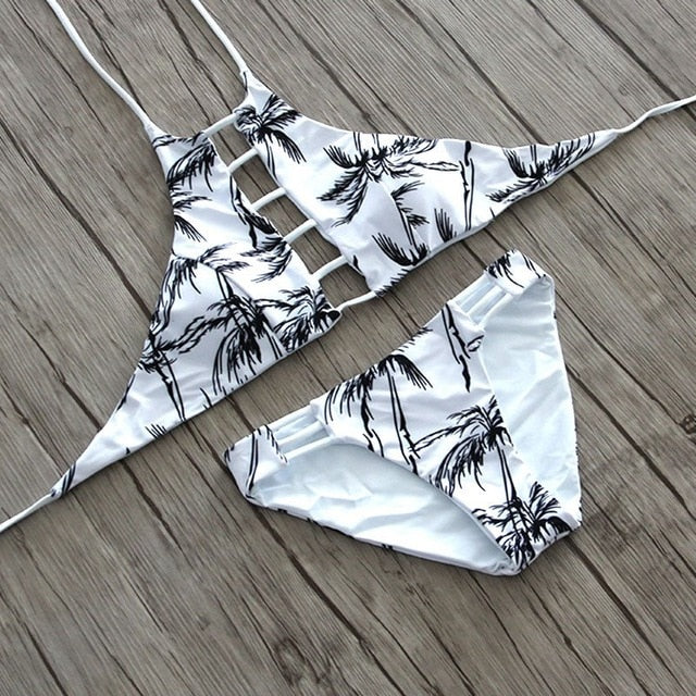 Tanlines Sexy High Neck Halter Crop Bikini