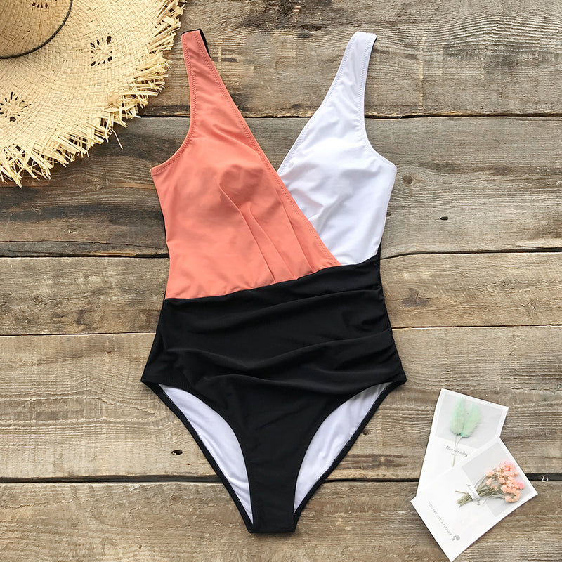 Pink White And Black Color Block One-Piece