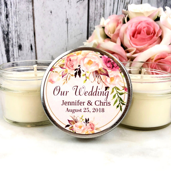 Blush Wedding Favors Candle - Wedding Favors Candles - Blush Wedding - Gold Wedding Favors - Blush and Gold Wedding - Candle Favor set of 12