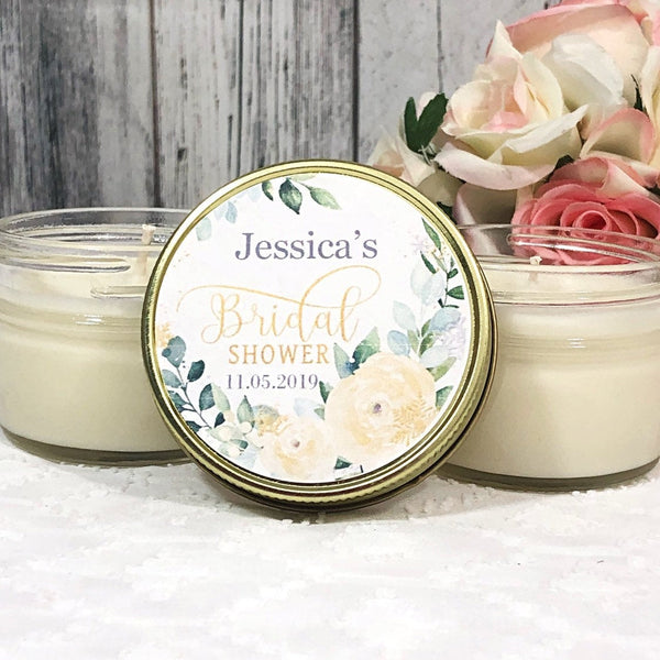 Bridal shower Favors - Bridal Shower Candles Favors - Eucalyptus Bridal shower   - Personalized Candle favors - Greenery Candles