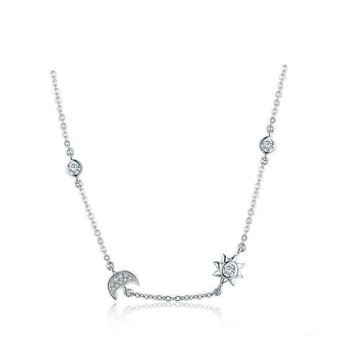925 Sterling Silver Sparkling Moon and Star Exquisite Pendant Necklaces